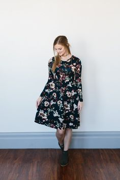 Floral Empire Dress- Navy