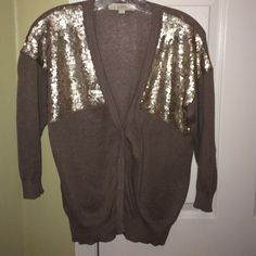 LOFT SEQUINED CARDIGAN So pretty!! Taupe colored cardigan with sequins.  Snap closures.  No snags, tears or holes.  This looks great with white or ivory pants or jeans!! LOFT Sweaters Cardigans