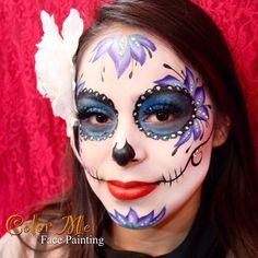 Sugar Skull Makeup - Color Me Face Painting - Vanessa Mendoza Halloween Face Paint Designs, Face Painting Designs, Body Painting, Sugar Skull Face Paint, Sugar Skull Makeup, Sugar Skulls, Cool Face Paint, Face Paint Makeup, Zombie Makeup