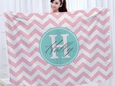 Monogrammed Blanket Personalized Blanket with Custom by Slive88, $33.00