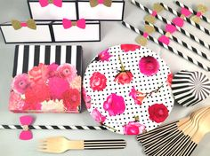 Dessert party.  *Kate Spade Inspired. Hot pink, gold, black & white. Stripes and polka dots.