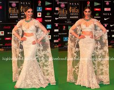 For the big Awards night, it was an outfit inspired by the Spanish bullfighters for Deepika. The actor paired her ivory Sabyasachi with stunning emeralds from Tanishq and rings from Anmol. A teased ponytail and dramatic smokey eyes helped finish out the look. A look that was right up Ms. Padukone's wheelhouse; she looked great! …