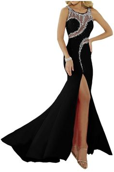 EnjoyDress Women's Slit Mermaid Prom Dresses Beaded Formal Party Gowns Black 2. US Size2--26 & Custom make,if you want custom,please contact us before you place order. When you choose your size, you had better choose the bigger size,it is better to choose bigger 2cm, please not choose a little small size. Can be used for prom dresses,party dresses,formal gowns,pageant dress,evening dress. Quick shipping time,you will get it within 20 business days. Please refer to our own size chart on…