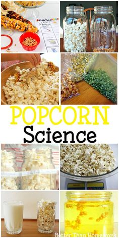 Fun Popcorn Science Experiments for Kids – Creative Family Fun How does popcorn pop? Answer that question and more with these fun popcorn science experiments for kids. Explore volume, weight, chemistry, and kitchen science. Food Science Experiments, Science Activities For Kids, Science Fair Projects, Science For Kids, Science Fun, Popcorn Science Fair Project, Science Classroom, Stem Activities, Fall Preschool Science