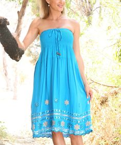 This Turquoise Floral Embroidered Convertible Skirt is perfect! #zulilyfinds