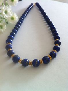 Top Grade Natural Lapis Lazuli Necklace, with 24 K Gold Vermeil Spacers and Gold Filled Toggle Clasp, Wedding Gift, Christmas Gift. 24k Gold Jewelry, Diamond Jewelry, Beaded Jewelry, Jewelry Necklaces, Beaded Necklace, Jewellery, Turquesa E Coral, Lapis Lazuli Jewelry, Bijoux Diy