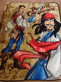 Disney Parks Pirates Of The Caribbean Fleece Throw Blanket Kids Cartoon  #Disney