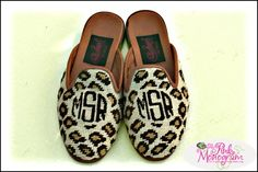 Monogrammed Needlepoint leopard Mules or Loafers  Apparel & Accessories > Shoes > Clogs & Mules