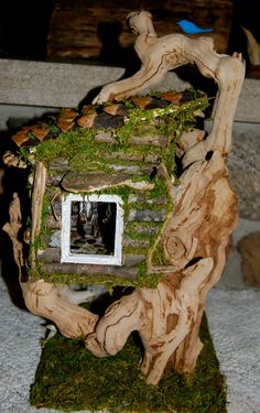 Fairy House with Furniture by FaeryGrrlGardens on Etsy Fairy House Crafts, Fairy Garden Houses, Garden Projects, Projects To Try, Mini Mundo, Fairy Village, Garden Whimsy, Fairy Homes, Gnome House