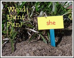 "Word Hunt Fun!  This is such a great  active learning activity. {or do this throughout a hallway in the school - let students buddy up and take turns reading words - or have older ""buddy"" students set this up and help them read the words}"