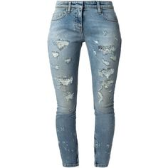Faith Connexion Distressed Cropped Slim Jeans ($165) ❤ liked on Polyvore featuring jeans, pants, bottoms, denim, pantalones, blue, distressing jeans, blue jeans, destructed jeans and distressed jeans