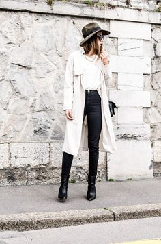 Street Style 2015: Alison Liaudat is wearing a creme trench coat from H&M, black American Apparel jeans and a pair of black Zara ankle boots