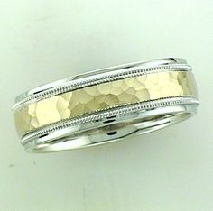 Sterling Silver And 14K Yellow Wedding Band With Hammer Finish On 14K Yellow Gold