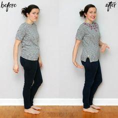 Reuse Clothes, Sewing Clothes, T Shirt And Shorts, T Shirt Diy, Sew Tshirt, Umgestaltete Shirts, Band Shirts, Jeans Refashion, Diy Jeans