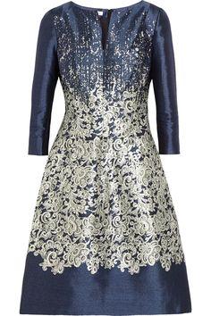 Oscar de la Renta|Printed silk and cotton-blend dress|NET-A-PORTER.COM