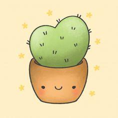 - Best ideas for decoration and makeup - Cactus Cartoon, Plant Cartoon, Cute Bunny Cartoon, Cute Cartoon Drawings, Cute Animal Drawings, Kawaii Drawings, Loli Kawaii, Kawaii Cute, Doodles Bonitos