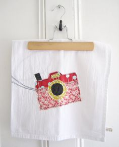 Appliqued Tea Towel Camera 100 Cotton by hangtightstudio88,
