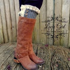 Love! Open knit gray leg warmers with buttons over the knee rain boots, short boots, tall boot socks shop @ www.laciegirl.com