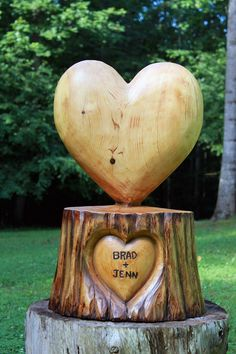 Perfectly Shaped Heart with Personalized Lettering Chainsaw Wood Sculpture
