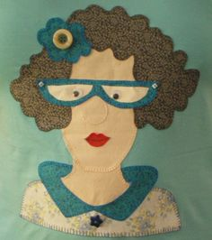 - she has character Jelly Roll Quilt Patterns, Applique Quilt Patterns, Applique Templates, Hand Applique, Applique Designs, Divas, Face Collage, Sewing Humor, Jellyroll Quilts