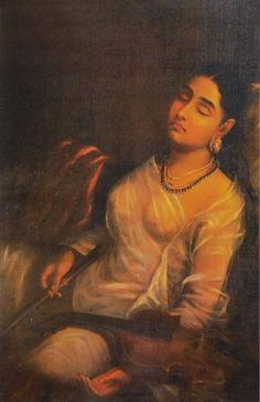 Portrait of a Lady - Reprints of Raja Ravi Varma Paintings (Ravi Varma Reprint - Unframed) Ravivarma Paintings, Indian Art Paintings, Watercolor Paintings, Sexy Painting, Woman Painting, Saree Navel, Indian Folk Art, Indian Beauty Saree, Pictures To Paint