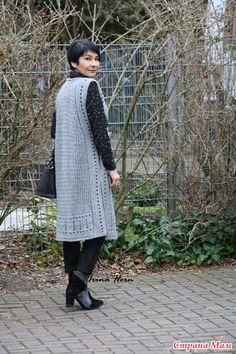 Long vest-sundress from Irina Horn (Crochet) - Magazine Inspiration Needlewoman Crochet Tunic Pattern, Crochet Cardigan, Baby Knitting Patterns, Filet Crochet, Crochet Stitches, Knit Crochet, Crochet Skirts, Crochet Clothes, Moda Crochet