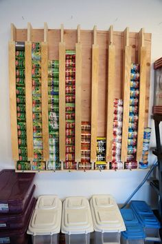 Canned food storage. Rolling system my husband built. Holds 120 cans. @jenniferpeterson & 156 best Can food rack images on Pinterest | Organization ideas ...