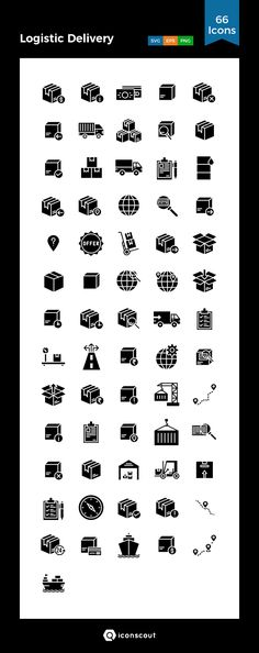 Logistic Delivery Icon Pack - 66 Solid Icons Logistics Logo, Png Icons, Icon Collection, Caligraphy, Icon Pack, Name Cards, Icon Font, Ecommerce, Computers