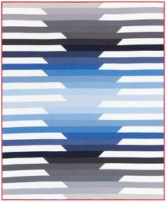 """Cascade"" quilt designed by Initial K Studio. Features Kona Cotton. Blue colorstory."