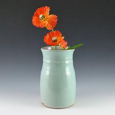 Small Desk Vase  Robins Egg Blue Glaze by RhynoClayworks on Etsy