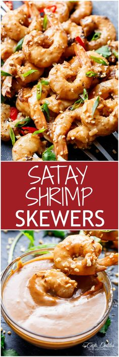 Grilled Satay Shrimp Skewers - Smothered in the BEST 10 minute Thai-style peanut sauce with minimal effort and maximum taste!