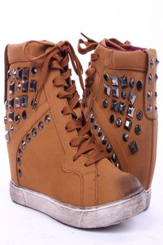 TAN NU BUCK STUDDED SPIKE ACCENT LACE UP HIDDEN WEDGE SNEAKERS,$15.99 Be fall ready with these amazing chic sneaker wedges! These sneaker wedges features include a nu buck upper, studded spike accents, lace up style and a hidden wedge.  #sneakers #womenshoes #fashonstyle #worldoffashion #wanderable #fashionstyle #fashion #leathershoes #hiddenwedges #wedgesneakers #sneakerwedges #studdedsneakers