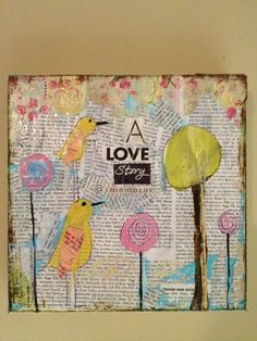 Whimsical Bird art colorful 8 x 8 mixed by sunshinegirldesigns, $60.00