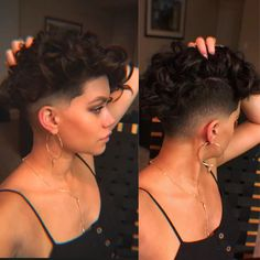 Pixie shaved undercut fade short haircut brunette curls Orlando stylist hair ins. Shaved Curly Hair, Undercut Curly Hair, Curly Pixie Haircuts, Edgy Short Haircuts, Girl Haircuts, Undercut Hairstyles, Shaved Undercut, Undercut Fade, Short Curly Pixie