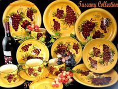Amazon.com: Tuscany Vineyard Grapes Wine kitchen Dinnerware set 16 pc Dinner Set: Kitchen & Dining