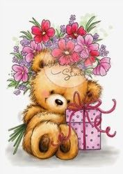 Karten-Kunst - Stempel- und Scrapbook-Shop - Wild Rose Studio Clear Stamp - Teddy with Present Cute Teddy Bear Pics, Teddy Bear Pictures, Bear Images, Cute Bears, Birthday Clipart, Pintura Country, Cute Clipart, Love Bear, Tatty Teddy