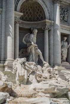By Italian architect Nicola Salvi and completed by Pietro Bracci. Taken July 2017 July, July 14, Trevi Fountain, Rome Italy, Lion Sculpture, Europe, Statue, Art, Monuments