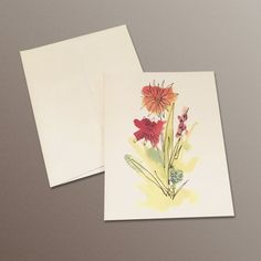 A2 Notecards set of 8 blank inside flowers by HASKINesque on Etsy