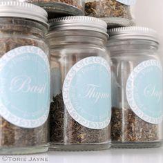 Herb Jar labels by toriejayne, via Flickr