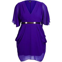 City Chic Faux Wrap Drape Dress ($89) ❤ liked on Polyvore featuring dresses, purple dress, city chic dresses, ruched dress, purple summer dresses and summer dresses