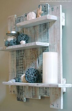 I got these shipping pallets from a paint store, so they were already stained… (dark paintings bathroom) Pallet Wall Shelves, Wood Shelves, Shelf Wall, Bathroom Shelves, Wall Shelving, Bathroom Storage, Bathroom Crafts, Bathroom Wall, Floating Shelves