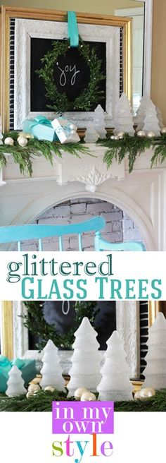 So cool!!!! Make your own Glittered Glass Trees!! Fantastic Tutorial from Diane of 'In my own Style' #12dayofchristmas  I HAVE HUNDREDS OF THESE I FILL WITH CANDY FOR CHRISTMAS AND I PUT FAKE SNOW AND WHITE TISSUE PAPER IN THEM FOR WINTER WONDERLAND DECOR--------NOW I WILL PAINT DO THIS , WHAT A GOOD IDEA, I JUST LOVE PINTEREST