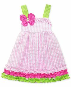Black Friday Rare Editions Toddler Girls Pink Lime Jewel Butterfly Seersucker Dress, from Rare Editions Cyber Monday Baby Girl Party Dresses, Little Girl Dresses, Baby Dress, Little Girls, Girls Dresses, Ruffle Dress, Kids Outfits Girls, Toddler Outfits, Girl Outfits