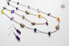 Long beaded necklace, long chain necklace, color necklace, stones necklace, delicate necklace, beaded chain necklace