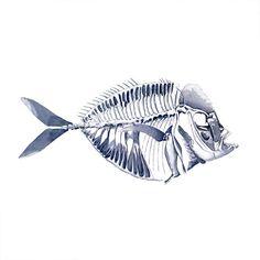 Blue Fishbone tattoo Pattern Tattoo Temporary by ArrowTattoo