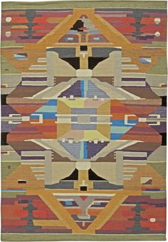 """A Swedish Design Rug  Size: 9' x 6'2""""  A contemporary Swedish rug design hand knotted Wool. Price: $6,500"""