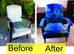 Chair reupholstered and chalk painted.  Before and after shots