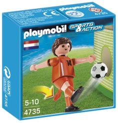 Playmobil 4735 Netherlands by Playmobil. $3.99. Playmobil Soccer Player - Netherlands - Root for your favorite athlete with the soccer player from the Netherlands. Set includes one figure with leg that kicks and soccer ball. Recommended ages five to ten. Warning: Choking Hazard. Contains a small ball and small parts. Not for children under 3 years.The miniature worlds of Playmobil encourage children to explore and learn while having fun. Children's imaginations are...