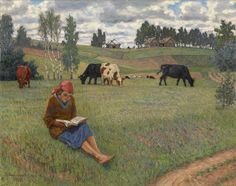 The Athenaeum - Girl Reading in a Meadow (Nikolai Petrovich Bogdanov-Belsky)