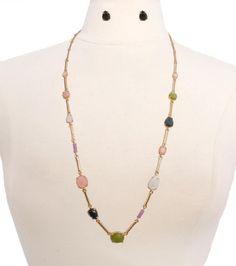Multicolor Long Gold Necklace Set